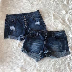 Lot of 2 Rue21 Distressed Jean Shorts